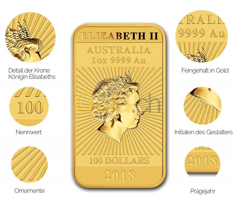 Details der Vorderseite des Gold-Münzbarrens Dragon Rectangular