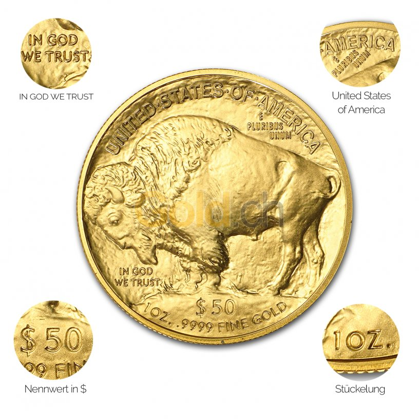 Goldmünze American Buffalo - Details des Avers