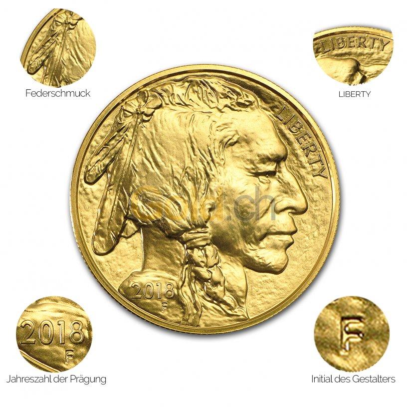 Goldmünze American Buffalo - Details des Revers