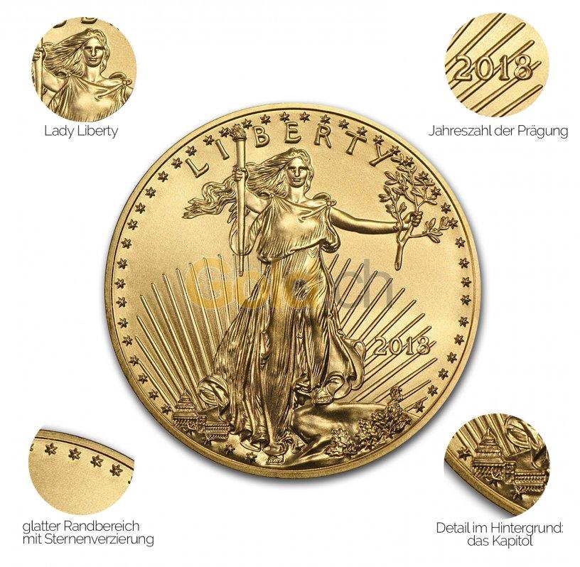 Goldmünze American Eagle - Details des Revers