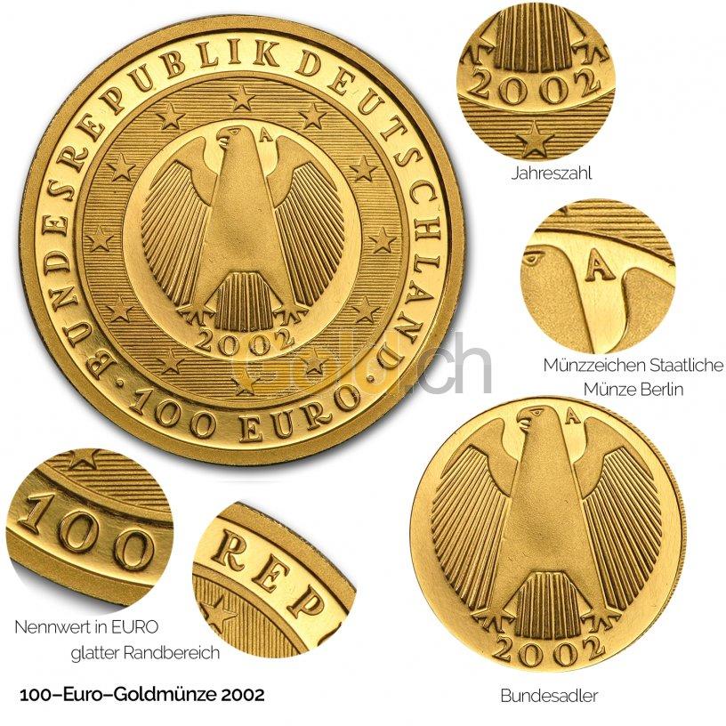 100 Euro Gold-Gedenkmünze der BRD - Details des Avers