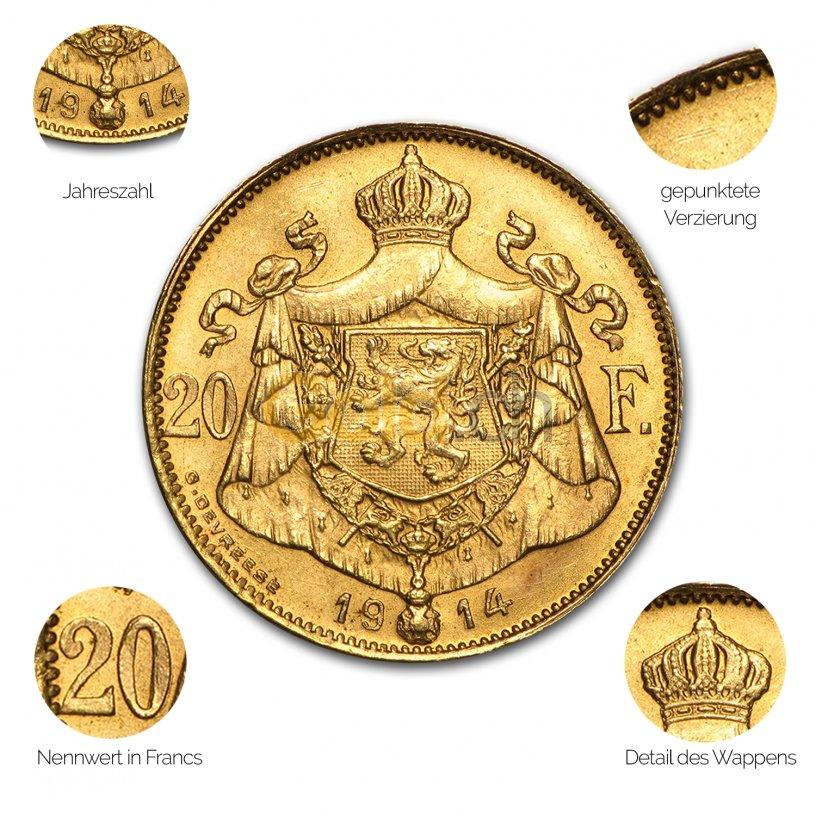 Goldmünze 20 Francs Albert - Details des Avers