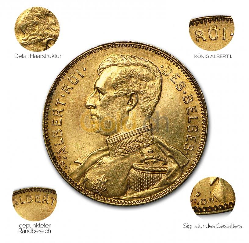 Goldmünze 20 Francs Albert - Details des Revers