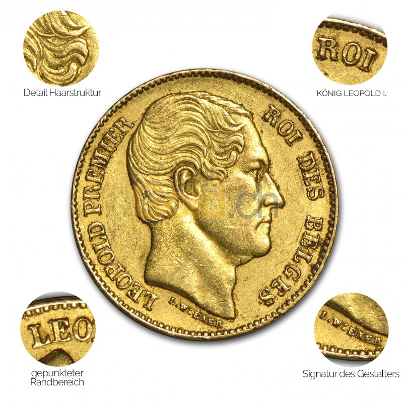 Goldmünze 20 Francs Leopold Premier - Details des Revers