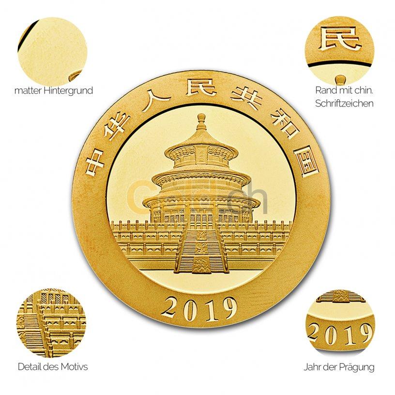Goldmünze China Panda - Details des Avers
