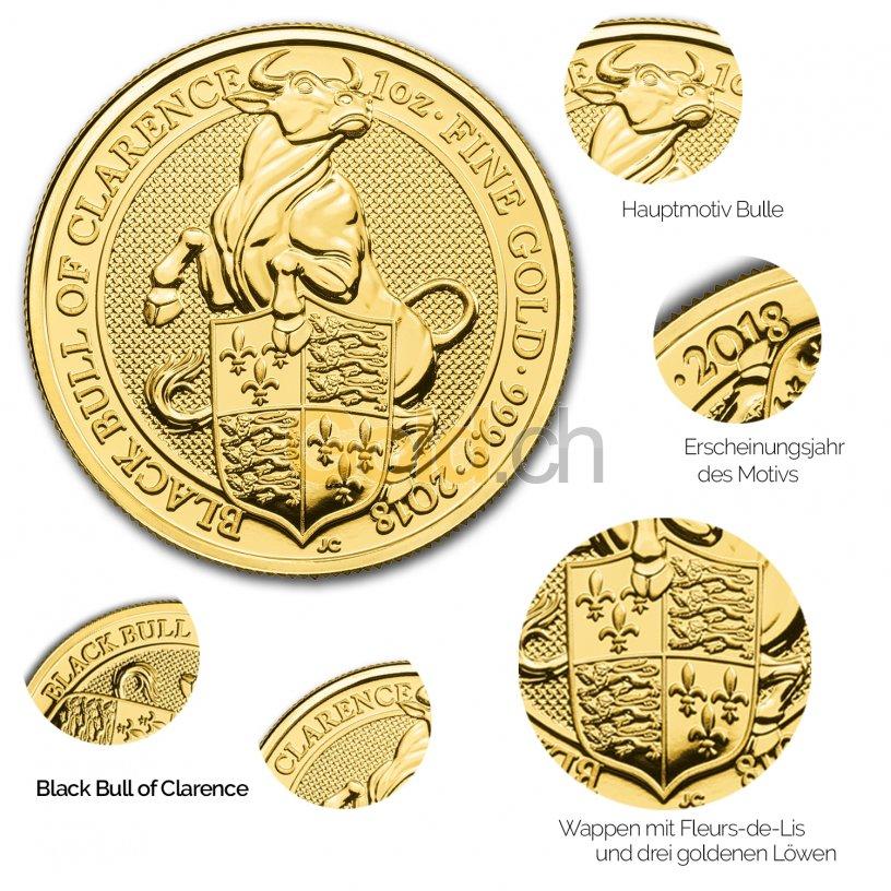 Details der Goldmünze Queen's Beasts - Black Bull of Clarence