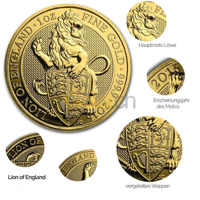 Details der Goldmünze Queen's Beasts - Lion of England