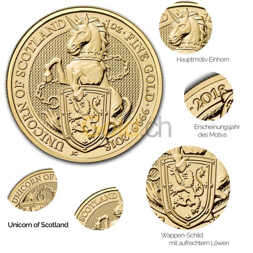 Details der Goldmünze Queen's Beasts - Unicorn of Scotland