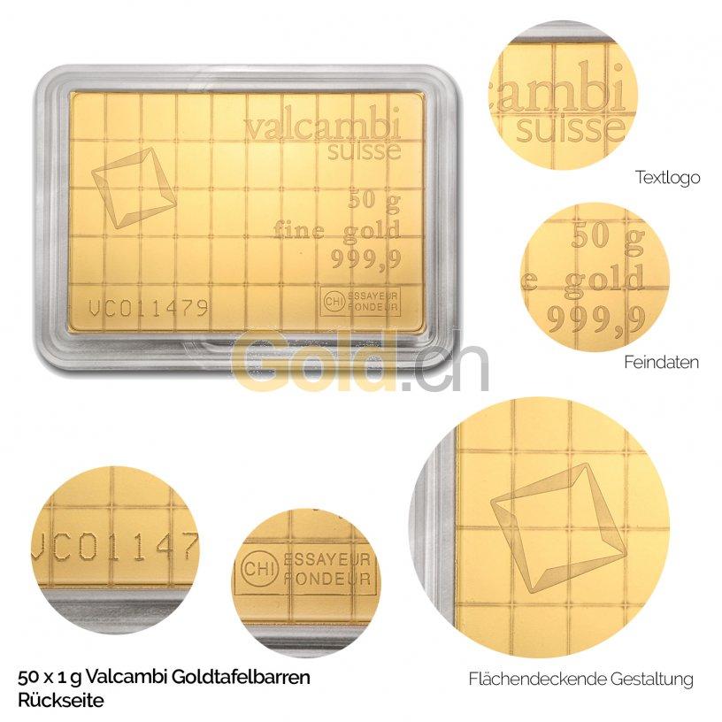 Goldtafelbarren 50 x 1 Gramm Valcambi - Rückseite