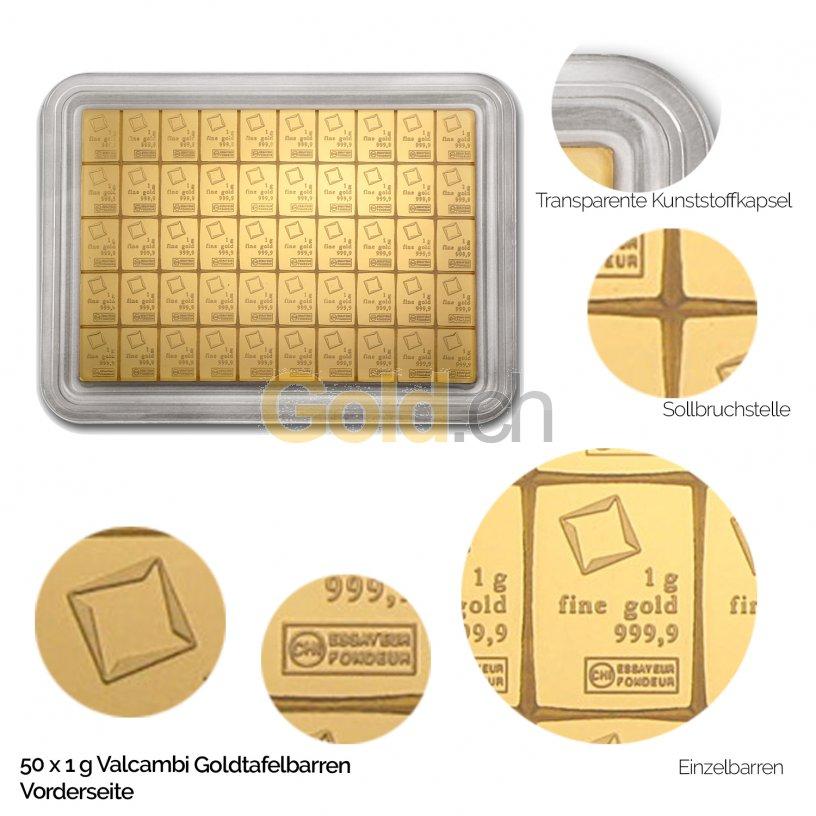 Goldtafelbarren 50 x 1 Gramm Valcambi - Vorderseite