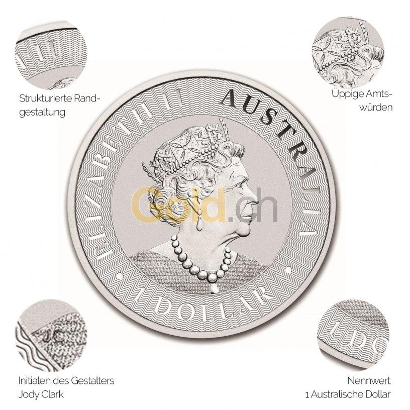Silbermünze Australian Kangaroo - Details des Avers