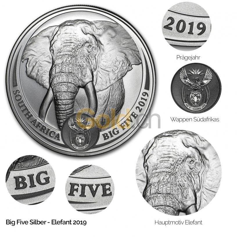 Silbermünze Big Five Serie - Details des Revers