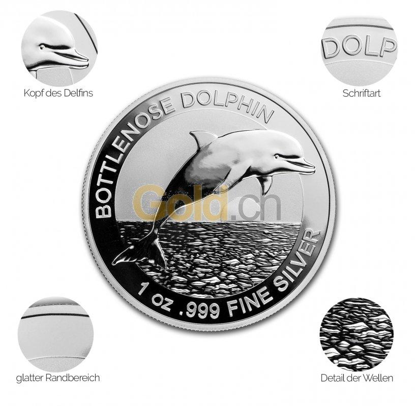 Silbermünze Bottlenose Dolphin - Details des Revers