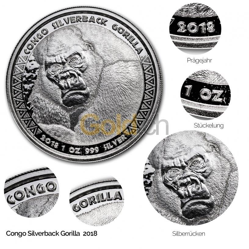 Silbermünze Congo Silverback Gorilla 2018 - Details des Revers