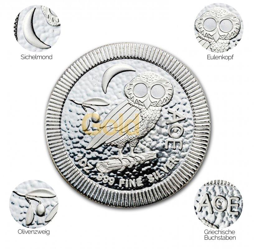 Silbermünze Eule von Athen - Details des Revers
