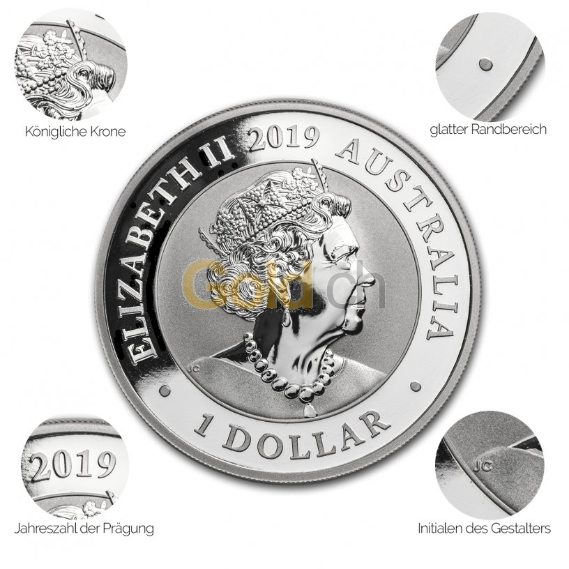 Avers der Silbermünze Schwan 2019