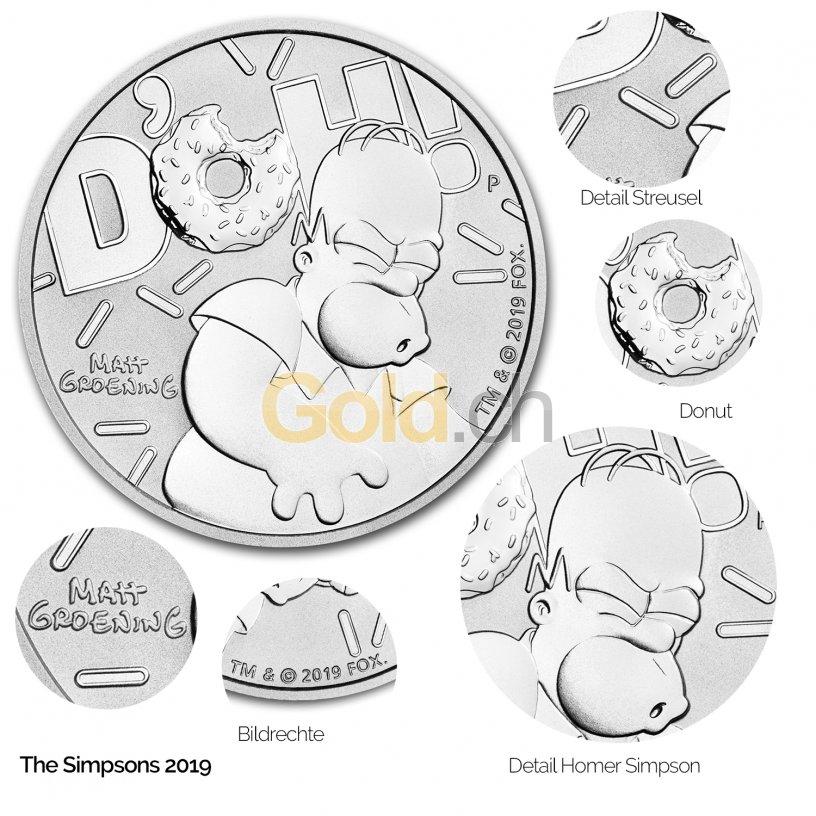 Silbermünze The Simpsons - Details des Revers