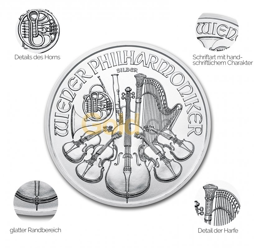 Silbermünze Wiener Philharmoniker - Details des Revers