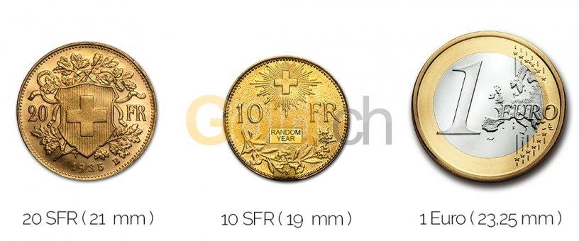 Größenvergleich Gold Vreneli mit 1 Euro-Stück