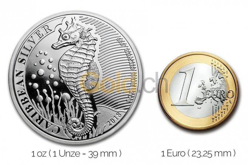 Größenvergleich Caribbean Seahorse Silbermünze mit 1 Euro-Stück