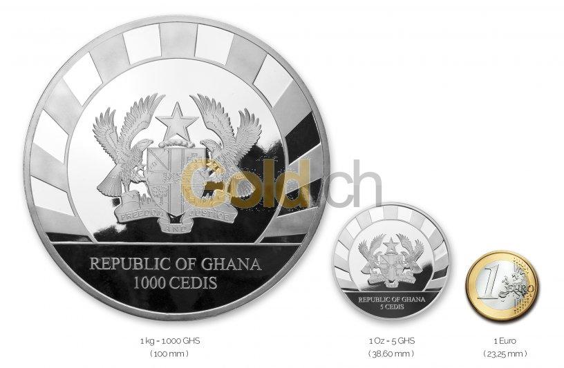 Größenvergleich Giants of the Ice Age Silbermünze mit 1 Euro-Stück