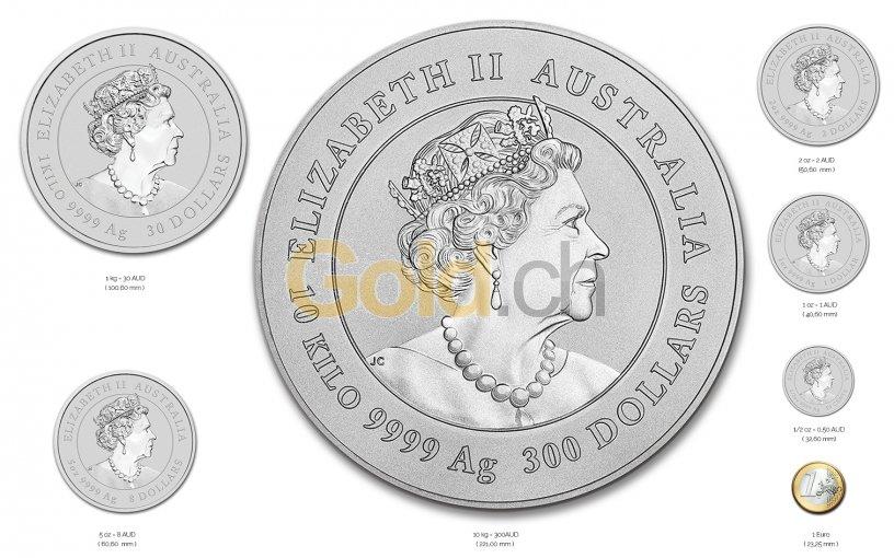 Größenvergleich Lunar Serie III Silbermünze mit 1 Euro-Stück
