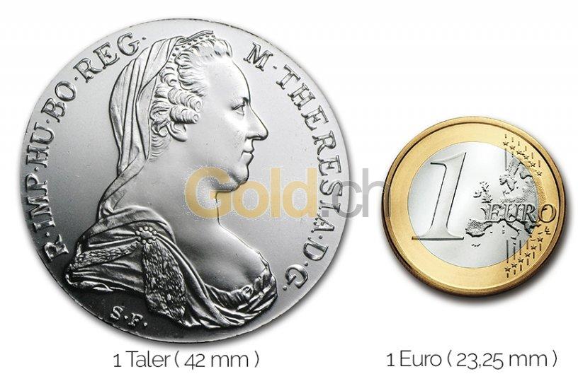 Größenvergleich Maria Theresien Taler Silbermünze mit 1 Euro-Stück