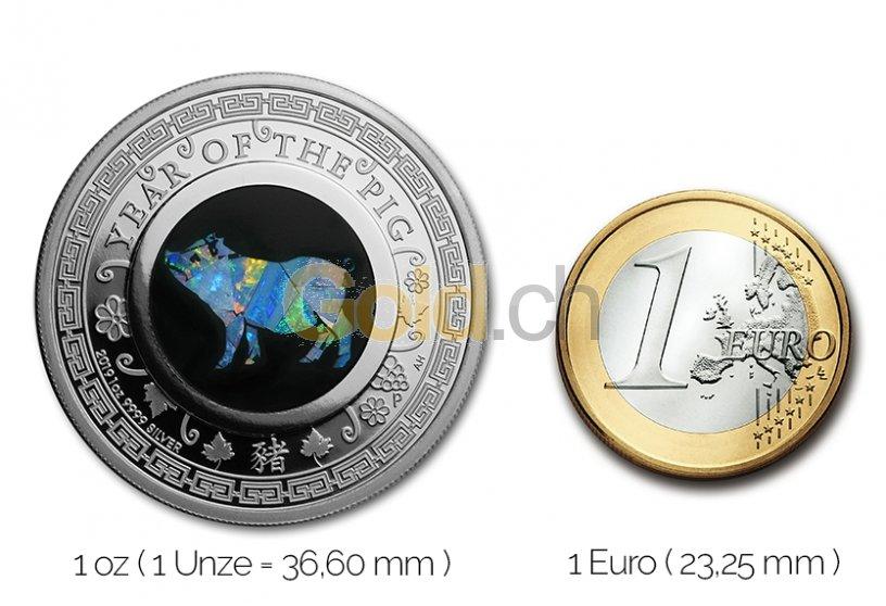 Größenvergleich Australian Opal Series Silbermünze mit 1 Euro-Stück