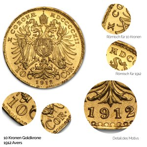 Nachprägung 10 Kronen Goldmünze Avers