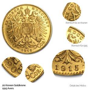 Nachprägung 20 Kronen Goldmünze Avers