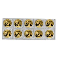 Mehrere China Panda Goldmünzen in Folie