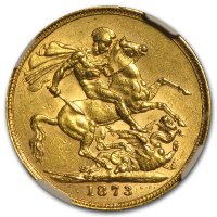 Gold Sovereign von 1871-1887 - Young Victoria - Revers